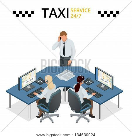 Vector concept of taxi service, technical car support and dispatcher call center. Female operator on call center