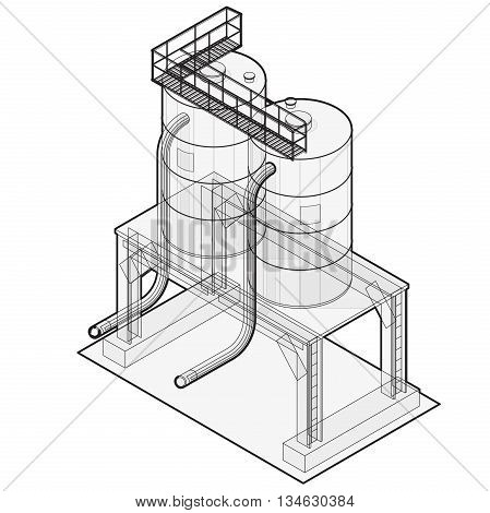 Water reservoir outlined. Water reservoir isometric building info graphic.
