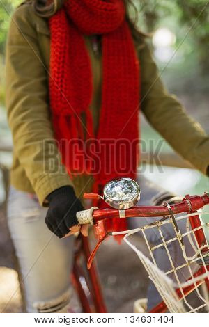 Close Up Of Retro Bike With Trendy Fashion Girl