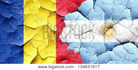 Romania flag with Argentine flag on a grunge cracked wall