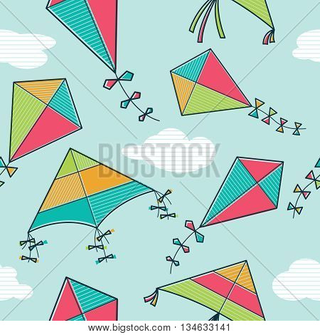 Vector seamless pattern with bright and colorful kites flying in the sky