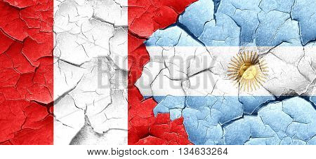 Peru flag with Argentine flag on a grunge cracked wall