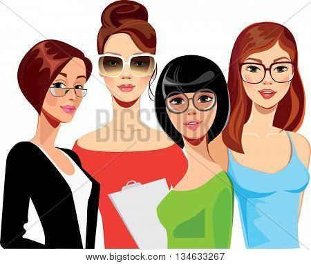 portrait of face girls on glasses