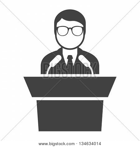 Icon of speaker at rostrum - man in glasses at tribune