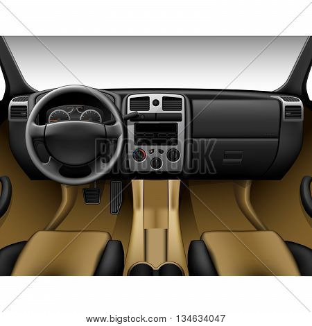 Beige leather car interior - inside view of truck dashboard
