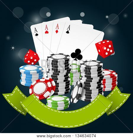 Gambling and casino poster - poker chips playing cards and dice