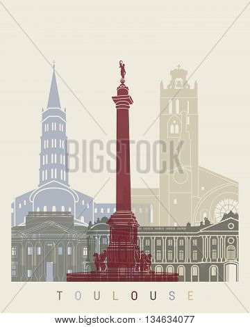 Toulouse Skyline Poster
