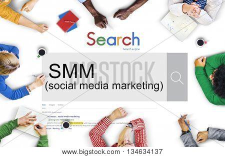 SMM Social Media Marketing Advertising Online Business Concept