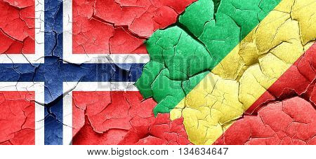 norway flag with congo flag on a grunge cracked wall