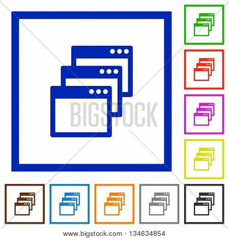 Set of color square framed Cascade window view mode flat icons