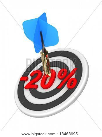 Dart hitting 20 percent off discount target. 3D illustration.