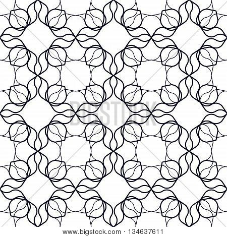 Art Nouveau Linear Pattern. Abstract geometrical background with wavy organic shapes. Seamless repeat.