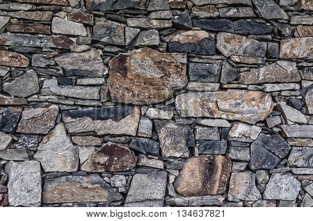 Stone wall texture.Pattern of old stone Wall.Pattern gray decorative uneven cracked real stone wall surface.