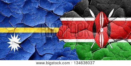 Nauru flag with Kenya flag on a grunge cracked wall