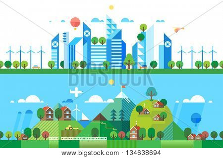 Two abstract backgrounds. Modern city. Pure nature.