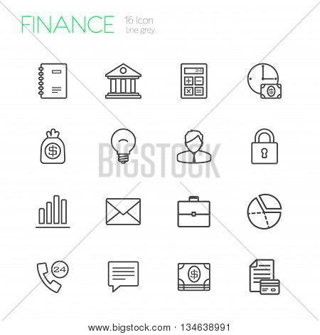Finance vector line gray icons set of 16
