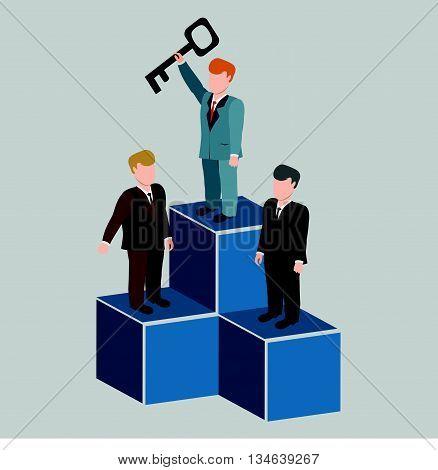 Businessman winner vector.Three businessmen standing on sports competition winner.Success concept with podium.Business success concept web infographics vector illustration.
