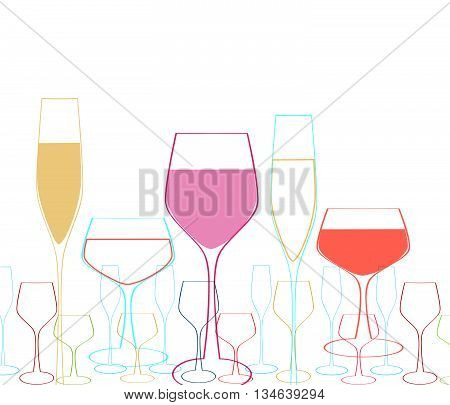 Background with wine goblet.Glasses vector illustration. Glasses of alcohol. Glasses cocktail party. Glasses abstract background.