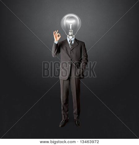 Voller Länge Business Männchen mit Lampe-Kopf