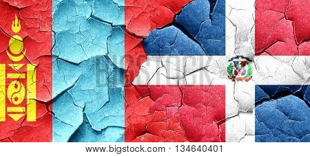 Mongolia flag with Dominican Republic flag on a grunge cracked w