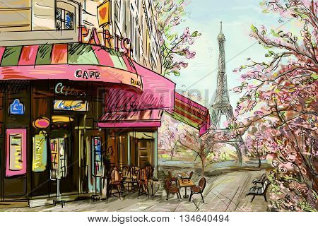 Street in paris - illustration concept