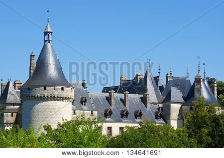 Castle of Chaumont Sur Loire, Loire Valley, France. Originally built in the 10th century, has undergone multiple renovations until reaching its present appearance.