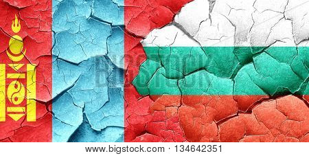 Mongolia flag with Bulgaria flag on a grunge cracked wall