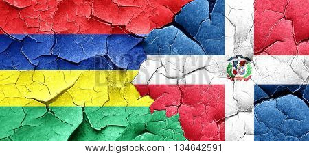 Mauritius flag with Dominican Republic flag on a grunge cracked