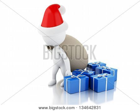 3d renderer image. Santa Claus with bag and gifts. Christmas concept. Isolated white background.