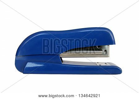 blue plastic office middle stapler gun closeup foreground isolated on white background
