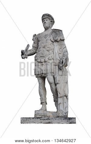 Ancient roman marble statue of roman emperor isolated on white background