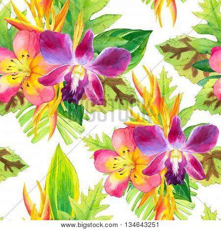 Beautiful bouquet on white background pattern. Composition with strelitzia orchid palm and begonia leaves.