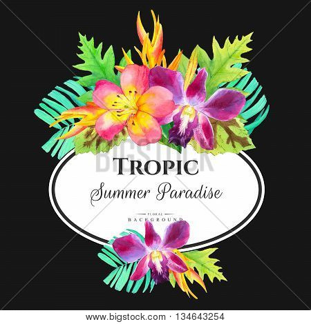 Beautiful bouquet with tropical plants on black background. Composition with lily palm leaves strelitzia and orchid.