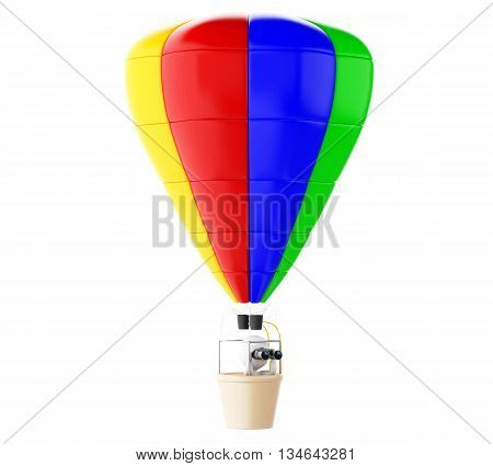 3d renderer image. White people on colorful hot air ballon with binoculars. Isolated white background.