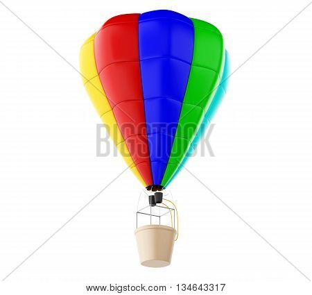 3d renderer image. Colorful hot air ballon. Isolated white background.