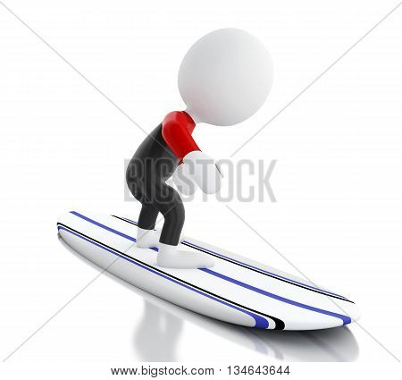 3d renderer image. White people surfing on surfboard and wearing equipment. Sport concept. Isolated white background.