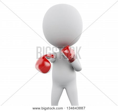 3d renderer image. White people with red boxing gloves. Sport concept. Isolated white background.