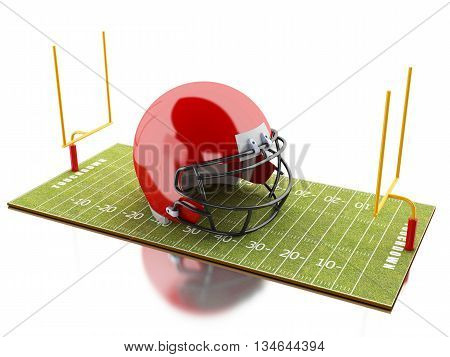 3d renderer image. American Football field with red helmet. Sport concept. Isolated white background.