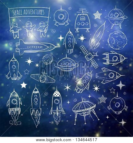 Collection of sketchy space objects on blurred background. Space ships, space shuttle, flying saucers, astronauts etc. Elements of this image furnished by NASA