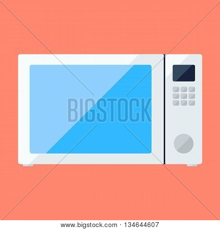 Microwave oven flat icon with knob and button panel