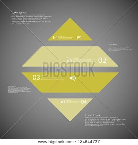 Rhombus Infographic Template Horizontally Divided To Four Green Parts On Dark Background