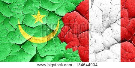 Mauritania flag with Peru flag on a grunge cracked wall