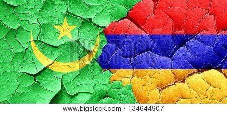 Mauritania flag with Armenia flag on a grunge cracked wall