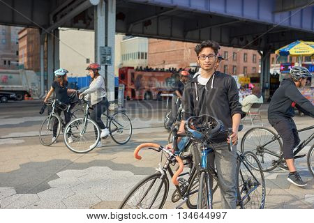 NEW YORK - CIRCA MARCH, 2016: outdoor lifestyle portrait of young man in New York. The City of New York is the most populous city in the United States