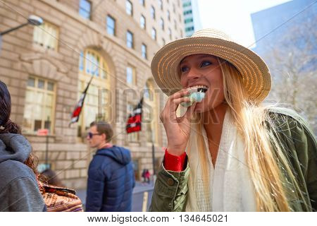 NEW YORK - CIRCA MARCH, 2016: outdoor lifestyle portrait of young woman in New York. The City of New York is the most populous city in the United States