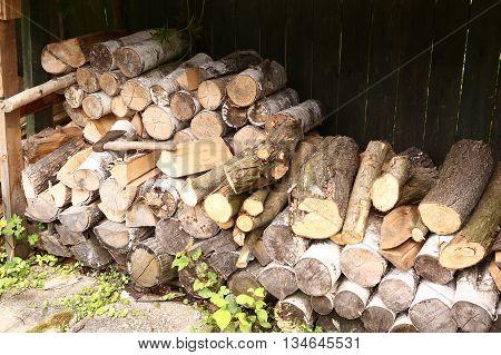 chopped fire wood stoorage close up photo
