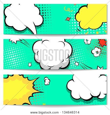 Bright dotted horizontal comic book Explosion style header or banner set. illustration