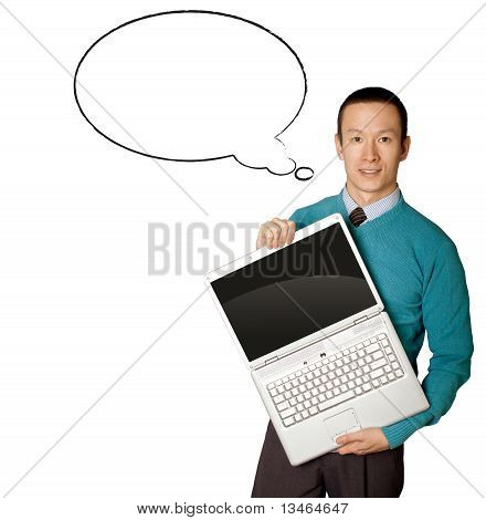 Male In Blue With Laptop And Comics Bubble
