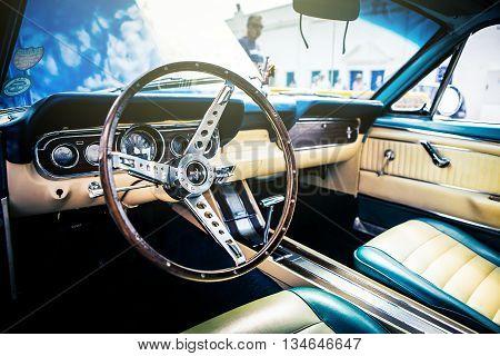 Benalmadena, Spain - June 21, 2015: Inside view of classic Ford Mustang, in Benalmadena (Spain), on June 21, 2015.