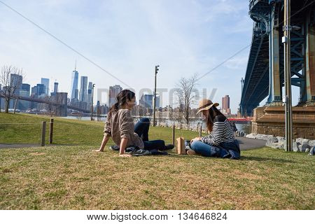 NEW YORK - CIRCA MARCH, 2016: outdoor portrait of women in Brooklyn, New York. The City of New York is the most populous city in the United States